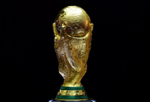 The FIFA World Cup trophy is seen in Westfield shopping centre in west London on March 14, 2014 as part of its world tour ahead of the Brazil 2014 World Cup finals this summer. AFP PHOTO / BEN STANSALL
